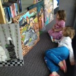the girls enjoying art